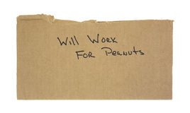 Cardboard will work for peanuts sign Stock Photography