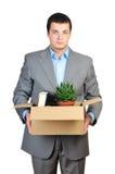 Cardboardbox della stretta dell'uomo d'affari Immagini Stock Libere da Diritti