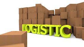 Cardboards and logistic word Stock Photo