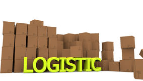 Cardboards and logistic word Stock Photography