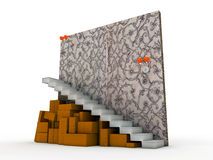 Cardboards under stairs Stock Photo