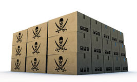 Cardbord boxes with pirates skull Stock Image