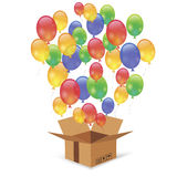 Cardbox and Colorful Balloons Stock Image