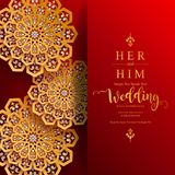Carddian πρότυπα καρτών γαμήλιας πρόσκλησης γαμήλιας πρόσκλησης InIndian το χρυσό που διαμορφώνεται με και κρύσταλλα στο υπόβαθρο ελεύθερη απεικόνιση δικαιώματος