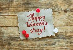 Carde al día internacional del ` s de las mujeres Imagen de archivo