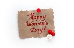 Carde al día internacional del ` s de las mujeres, papel del vintage Imágenes de archivo libres de regalías
