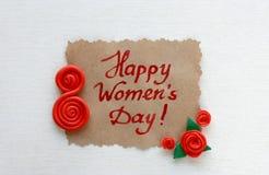 Carde al día internacional del ` s de las mujeres, rosas del plasticine Fotos de archivo libres de regalías