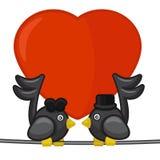 Carde com os dois pássaros das notas que cantam a música de amor Fotos de Stock Royalty Free