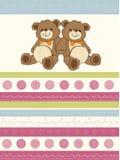 Carde com os ursos de peluche dos gêmeos ilustração royalty free