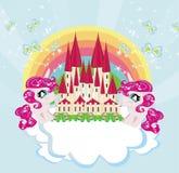 Carde com um castelo bonito do arco-íris dos unicórnios e da princesa do conto de fadas Foto de Stock