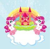 Carde com unicórnios bonitos arco-íris e castelo da princesa Fotos de Stock