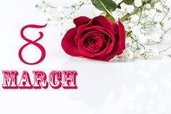 Carde 8 de março para o dia das mulheres Fotografia de Stock Royalty Free