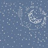 Carde el amor usted a la luna y a la parte posterior Imagen de archivo libre de regalías
