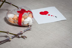 Carde el día del ` s de la tarjeta del día de San Valentín en un estilo escandinavo con el espacio vacío FO Foto de archivo libre de regalías