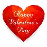 Carde el día feliz del ` s de la tarjeta del día de San Valentín con el corazón poligonal Illustra del vector Imagenes de archivo