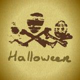 Carde el feliz tema de los huesos de Halloween en sombras del verde Imagen de archivo libre de regalías