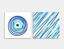 Carde el frente y la parte posterior con vector azul del mal de ojo fotos de archivo libres de regalías