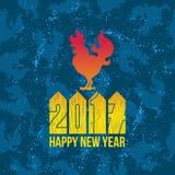 Carde el logotipo del gallo del fuego, silueta del gallo con Feliz Año Nuevo del texto Foto de archivo