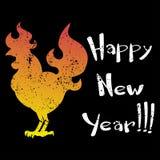 Carde el logotipo del gallo del fuego, silueta del gallo con Feliz Año Nuevo del texto Imagen de archivo libre de regalías