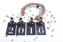 Carde o conceito pelo ano novo feliz com ferradura Foto de Stock Royalty Free