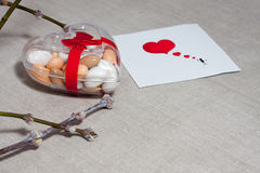 Carde o dia do ` s do Valentim em um estilo escandinavo com espaço vazio FO Fotos de Stock Royalty Free