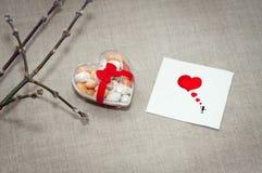 Carde o dia do ` s do Valentim em um estilo escandinavo com espaço vazio FO Imagens de Stock Royalty Free
