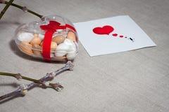 Carde o dia do ` s do Valentim em um estilo escandinavo com espaço vazio FO Foto de Stock Royalty Free