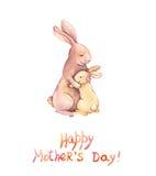 Carde para el día de madres - mime al conejo abrazan a su niño adorable Arte de la acuarela stock de ilustración