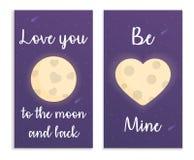 Carde para el día de tarjetas del día de San Valentín en espacio con la luna, el corazón y el texto Ilustración del vector Imagenes de archivo