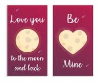 Carde para el día de tarjetas del día de San Valentín en espacio con la luna, el corazón y el texto Ilustración del vector Fotos de archivo libres de regalías