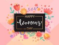 Carde para o dia feliz do ` s das mulheres, vetor ilustração stock