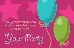 Carde su partido con los regalos, los globos, el helado y el sombrero para el diseño Vector Imagenes de archivo