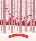 Cardenales de la tarjeta del día de San Valentín que sostienen la cadena de corazones stock de ilustración