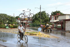 Cardenas, Cuba - November 26, 2015: Horse carriage and bicycle Royalty Free Stock Image