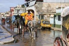 Cardenas, Kuba - 26. November 2015: Pferdewagen Lizenzfreies Stockbild