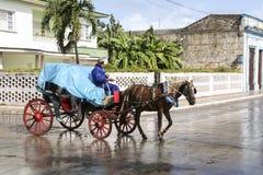 Cardenas, Kuba - 26. November 2015: Pferdewagen Lizenzfreie Stockfotografie