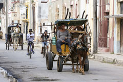 Cardenas, Kuba - 26. November 2015: Pferdewagen Lizenzfreies Stockfoto