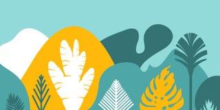 Cardez l'invitation de bannière avec les collines et les montagnes de aménagement tropicales d'arbres d'usines Conservation de l' illustration de vecteur