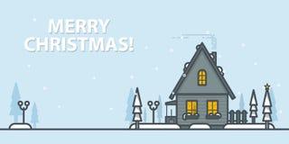 cardez la salutation de Noël Paysage d'hiver avec la maison sur un fond bleu Illustration de vecteur d'ensemble illustration de vecteur