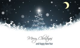 cardez la salutation de Noël Souhaits d'an neuf Renne, flocons de neige, neige, arbre de Noël brillant, étoiles et lune Drapeau d illustration stock