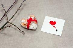 Cardez le jour du ` s de Valentine dans un style scandinave avec l'espace vide FO Image libre de droits