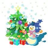 Cardez les décorations de Noël, arbre de Noël, cadeaux, bonhomme de neige illustration libre de droits
