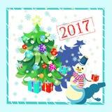 Cardez les décorations de Noël, arbre de Noël, cadeaux, bonhomme de neige Photos stock