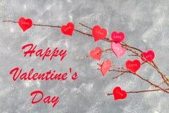 Cardez pour le jour de valentines avec le jour de valentines heureux des textes Photographie stock