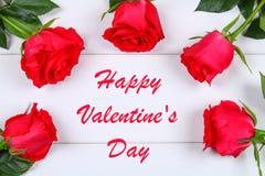 Cardez pour le jour de valentines avec le jour de valentines heureux des textes Photo libre de droits