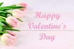Cardez pour le jour de valentines avec le jour de valentines heureux des textes Image stock