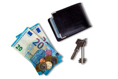 Cardholder, money and keys with shadows isolated on white background Stock Image