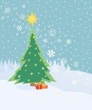 Cardi con l'albero di Natale Fotografia Stock Libera da Diritti