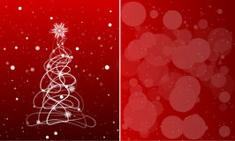 Cardi con l'albero di Natale su un fondo rosso con i fiocchi di neve Vec Fotografie Stock Libere da Diritti