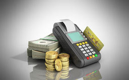 Cardi il terminale sulle pile di banconote in dollari con una carta assegni dentro Fotografia Stock